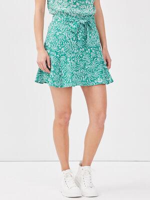 Jupe short evasee vert femme