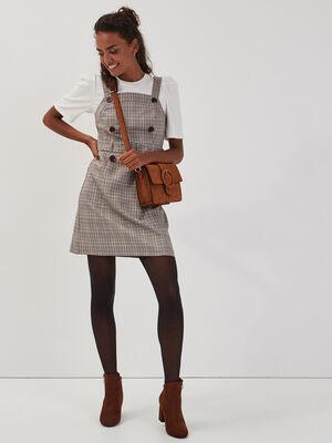Robe chasuble ceinturee blanc femme
