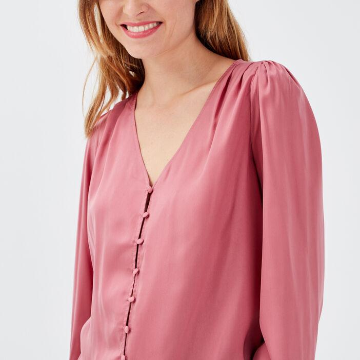 Chemise manches longues vieux rose femme