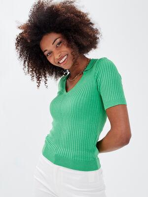 Pull avec effet cotele vert menthe femme