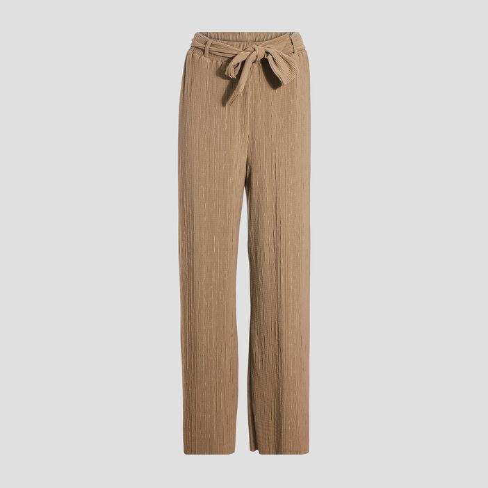 Pantalon ample ceinturé gris femme