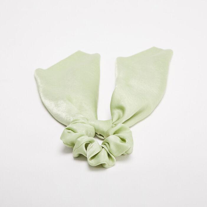 Chouchou avec noeud vert clair femme