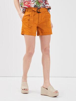 Short ceinture lin jaune moutarde femme