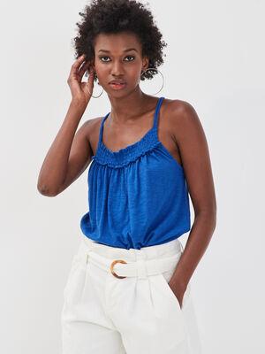 Debardeur bretelles fines bleu electrique femme