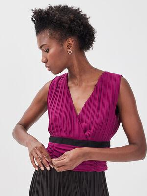 Blouse sans manches violet fonce femme