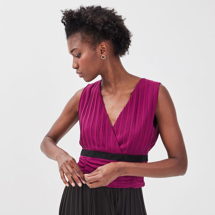 Blouse sans manches violet foncé femme
