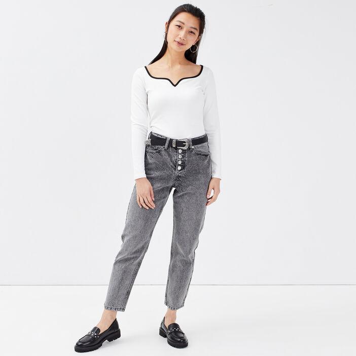 Jeans regular boutonné 7/8ème denim gris femme