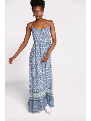 Robe longue evasee col rond bleu petrole femme