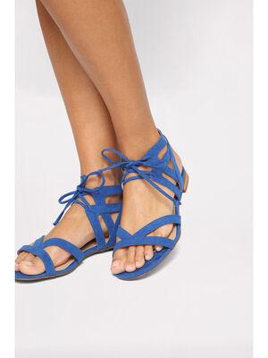 Sandales plates a lacage bleu electrique femme