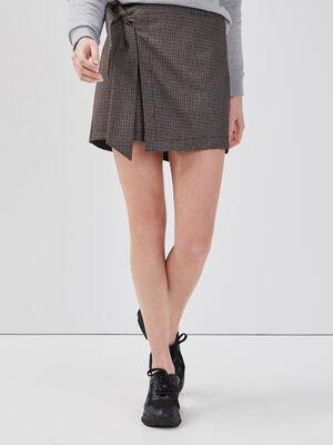 Jupe short noeud taille noir femme