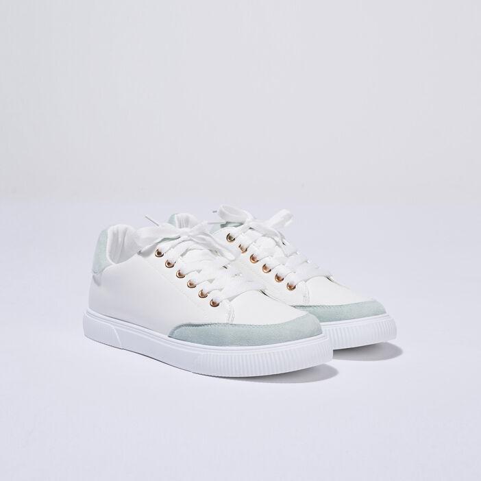 Baskets plates vert clair femme