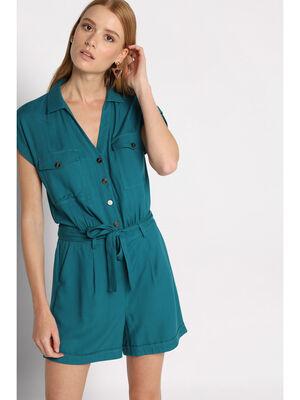 Combishort ceinture nouee vert emeraude femme