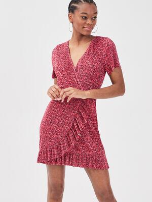 Robe droite effet portefeuille rouge femme
