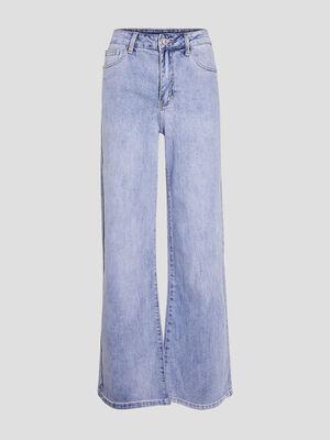 Jeans ample taille haute denim bleach femme