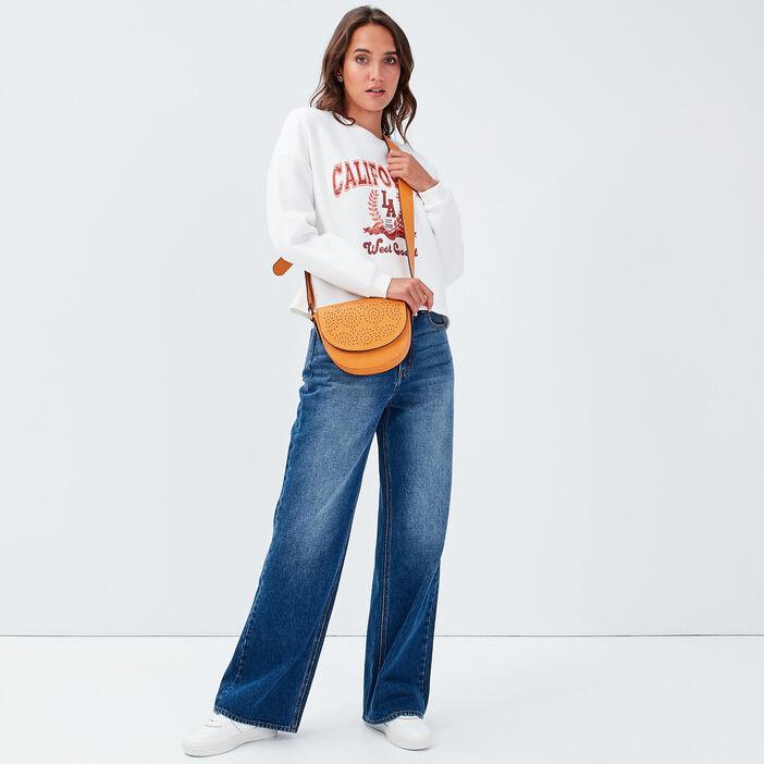 Jeans wide leg taille haute denim stone femme