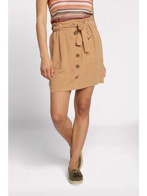 Jupe paperbag taille standard marron femme