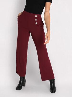Pantalon large details boutons bordeaux femme