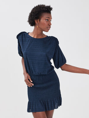 Robe droite smockee bleu marine femme