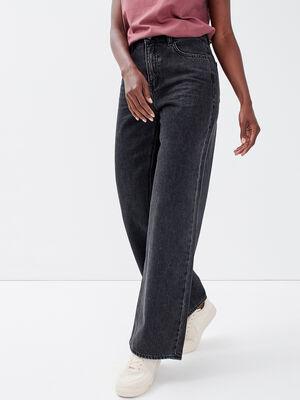 Jeans wide leg taille haute denim noir femme