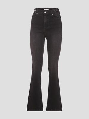 Jeans flare taille haute noir femme