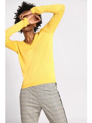 Pull manches longues dentelle jaune femme