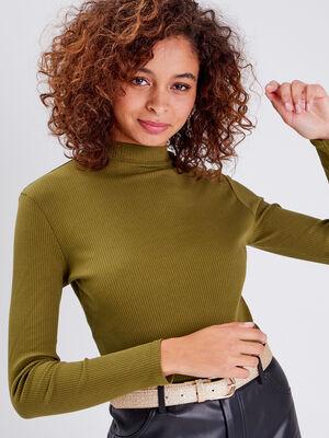 T shirt maille cotelee vert olive femme