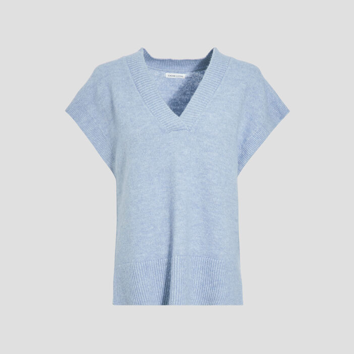 Pull manches courtes bleu clair femme