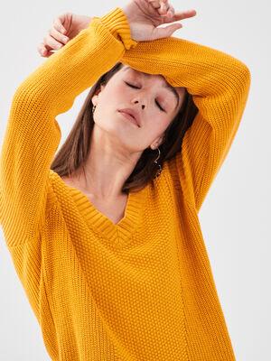 Pull col en V bateau jaune femme