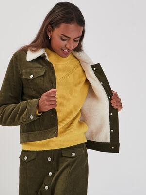 Veste en velours vert kaki femme