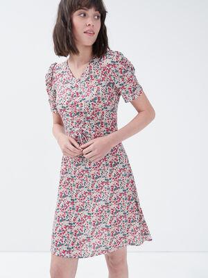 Robe evasee manches courtes rose fushia femme