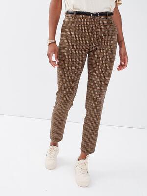 Pantalon cigarette ceinture vert kaki femme