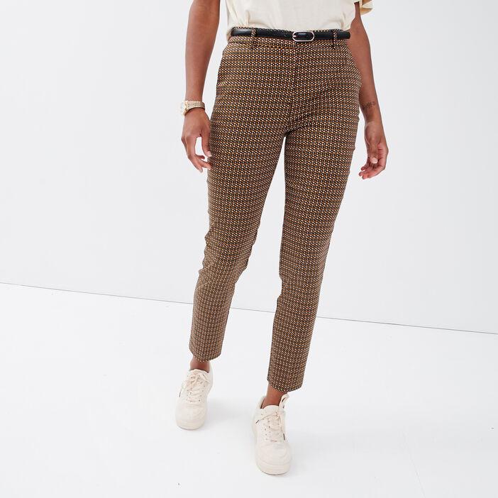 Pantalon cigarette ceinturé vert kaki femme