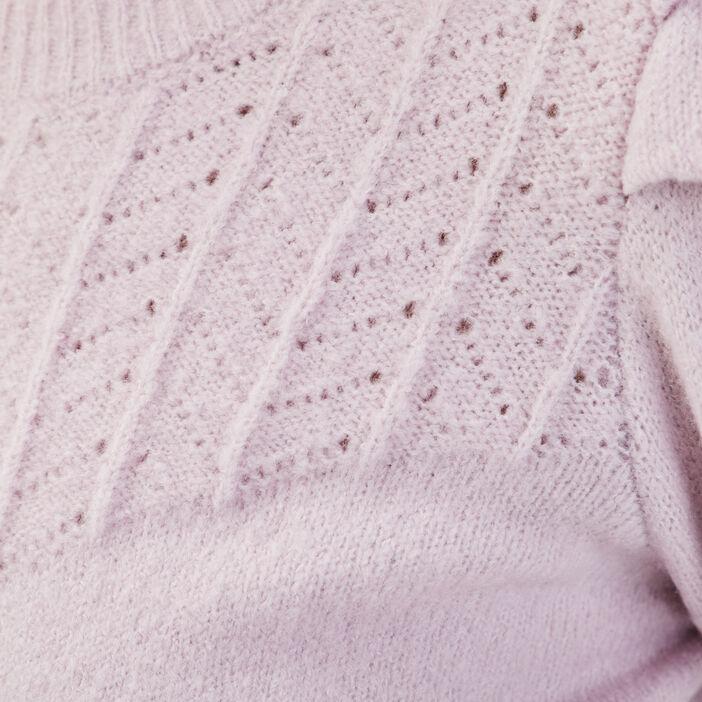Pull ajouré épaules froncées violet clair femme