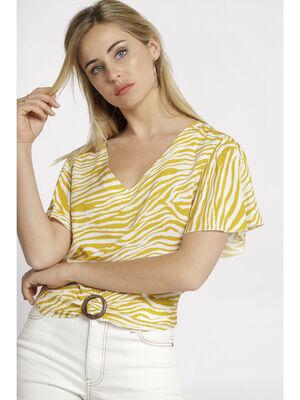 Blouse manches courtes bijou jaune moutarde femme
