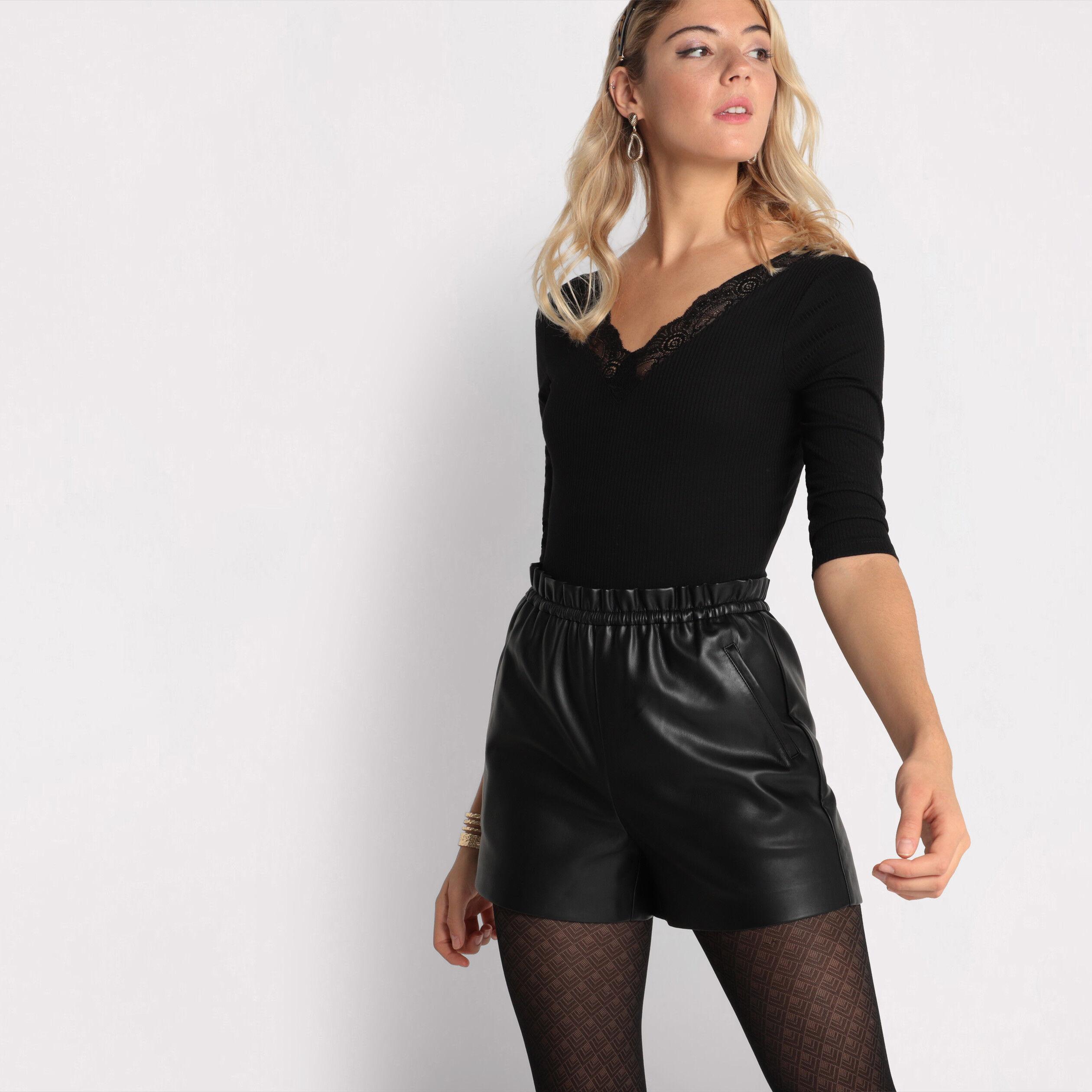 shorty simili cuir femme