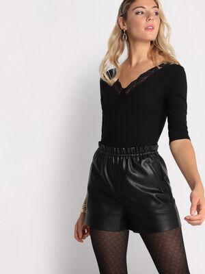 Short simili cuir noir femme