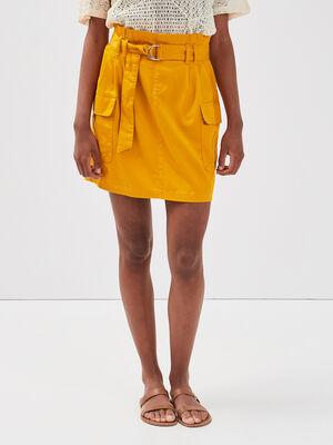 Jupe droite ceinturee jaune femme