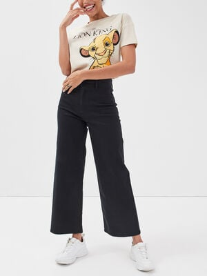 Jeans wide leg noir femme