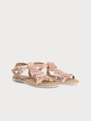 Sandales franges mexicaines rose clair femme