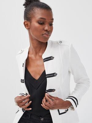 Veste blazer officier boutons ecru femme