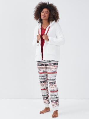 Ensemble pyjama avec gilet blanc femme