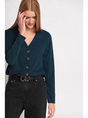 T shirt manches longues bleu canard femme