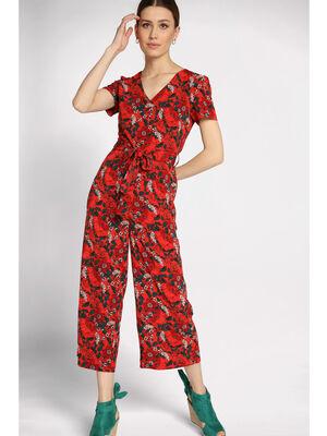 Combinaison pantalon col en V rouge femme