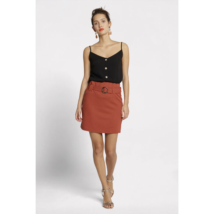 magasin en ligne 51c9d 8b69f Jupe droite taille haute orange foncé femme   Vib's