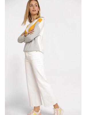 Jeans regular taille haute ecru femme