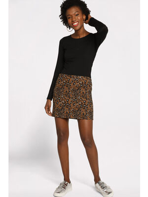 Jupe droite courte marron femme