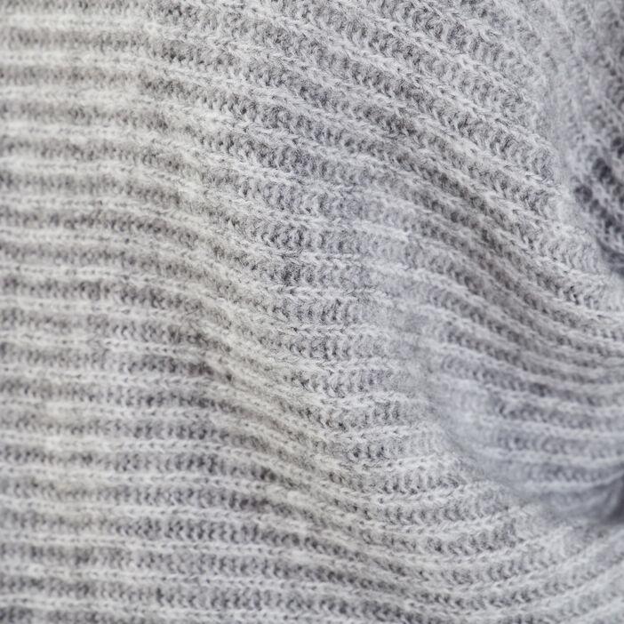 Pull long col châle gris foncé femme