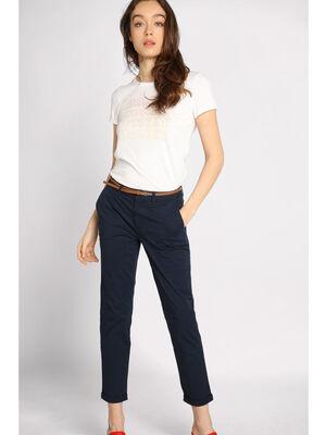 Pantalon chino avec ceinture bleu marine femme