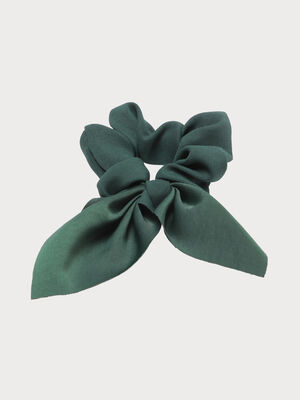 Chouchou avec noeud vert emeraude femme