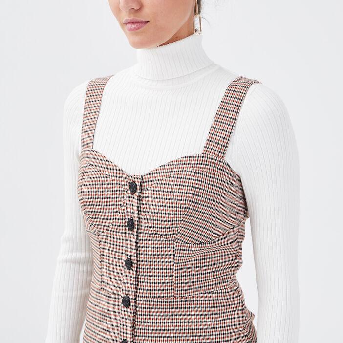 Robe trapèze boutonnée beige femme